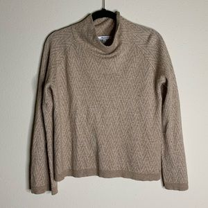 madewell tan and white pattern cowl neck sweater